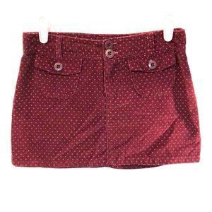 Gap kids skirt maroon pink dots size 14